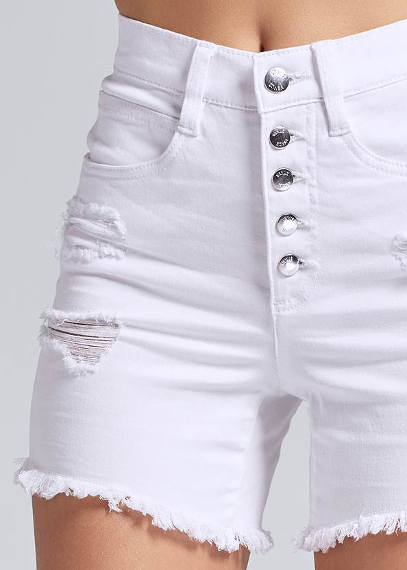 Detail front view Ripped Jean Shorts