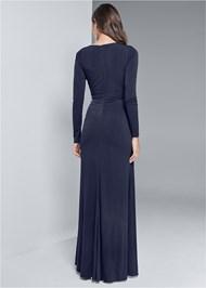 Back View Embellished Trim Long Dress