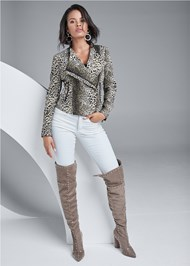 Full Front View Leopard Print Moto Jacket
