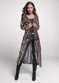 Full front view Sequin Mesh Long Jacket