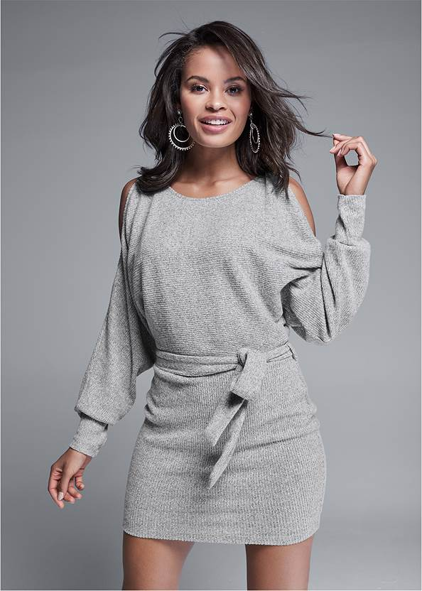 Cold Shoulder Casual Dress,Stretch Back Boots