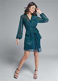Full front view Shimmer Faux Wrap Dress