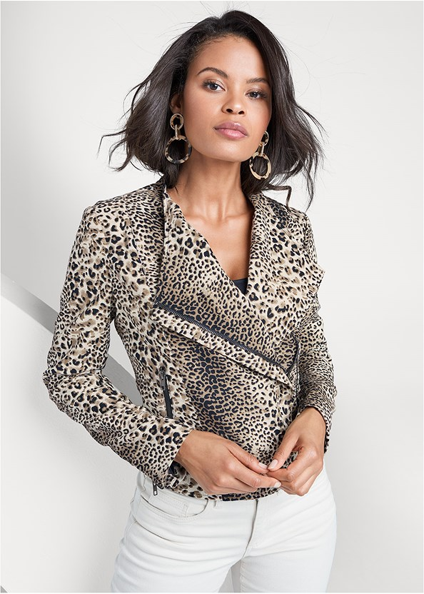 Leopard Print Moto Jacket,Lace Cami,Mid Rise Color Skinny Jeans,Strapless Bra With Geo Lace,Studded Over The Knee Boots