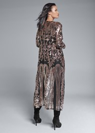 Full back view Sequin Mesh Long Jacket