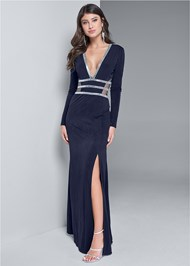 Front View Embellished Trim Long Dress