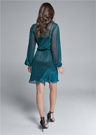 Full back view Shimmer Faux Wrap Dress