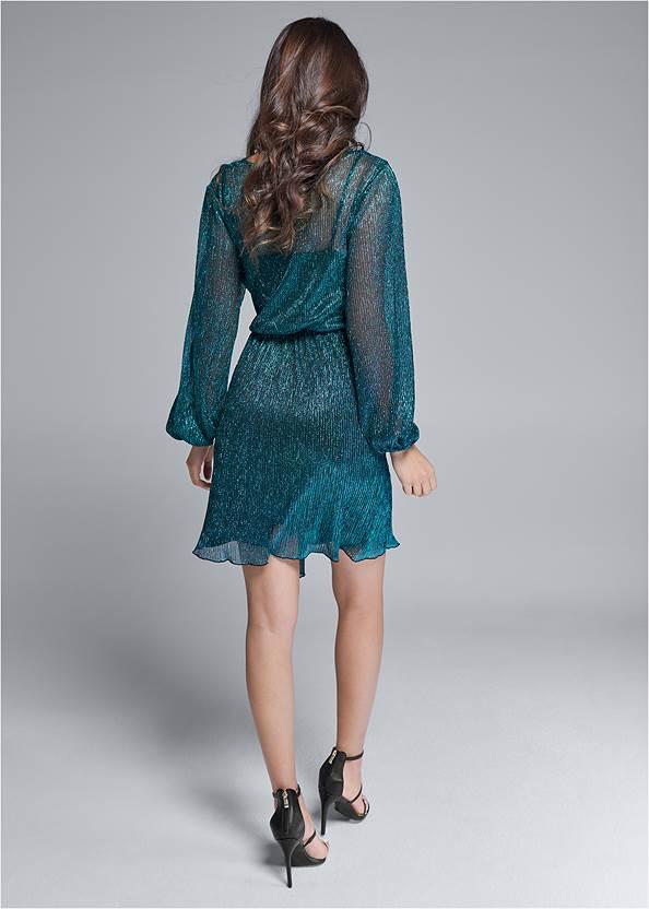 Full back view Shimmer Faux Wrap Dress