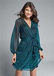 Cropped front view Shimmer Faux Wrap Dress