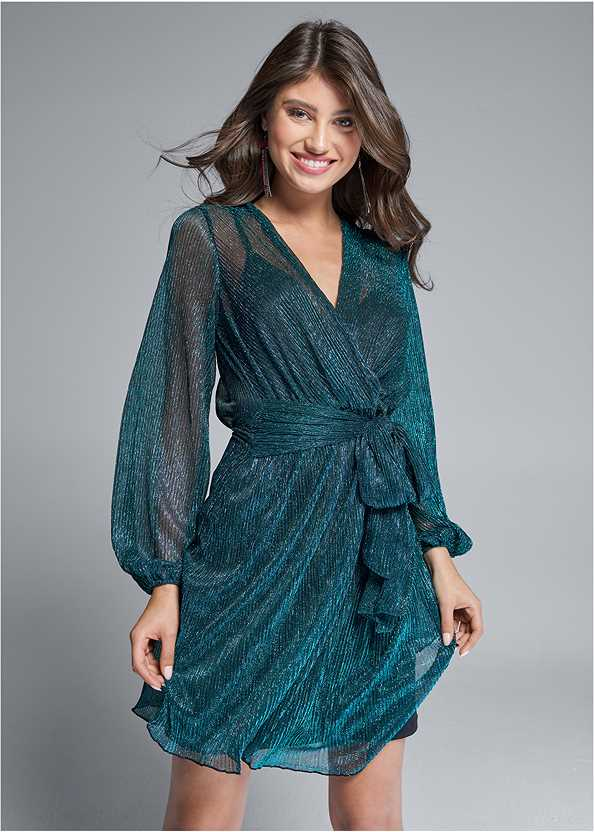 Shimmer Faux Wrap Dress,High Heel Strappy Sandals