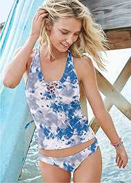 Full front view Lace Up Racerback Tankini