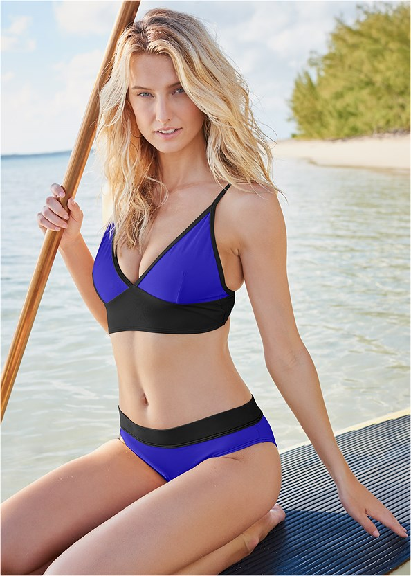 By The Sea Triangle Top,All Day Banded Bottom,Mesh Trimmed Swim Shorts,Midrise Mesh Panel Bottoms,Embellished Slides