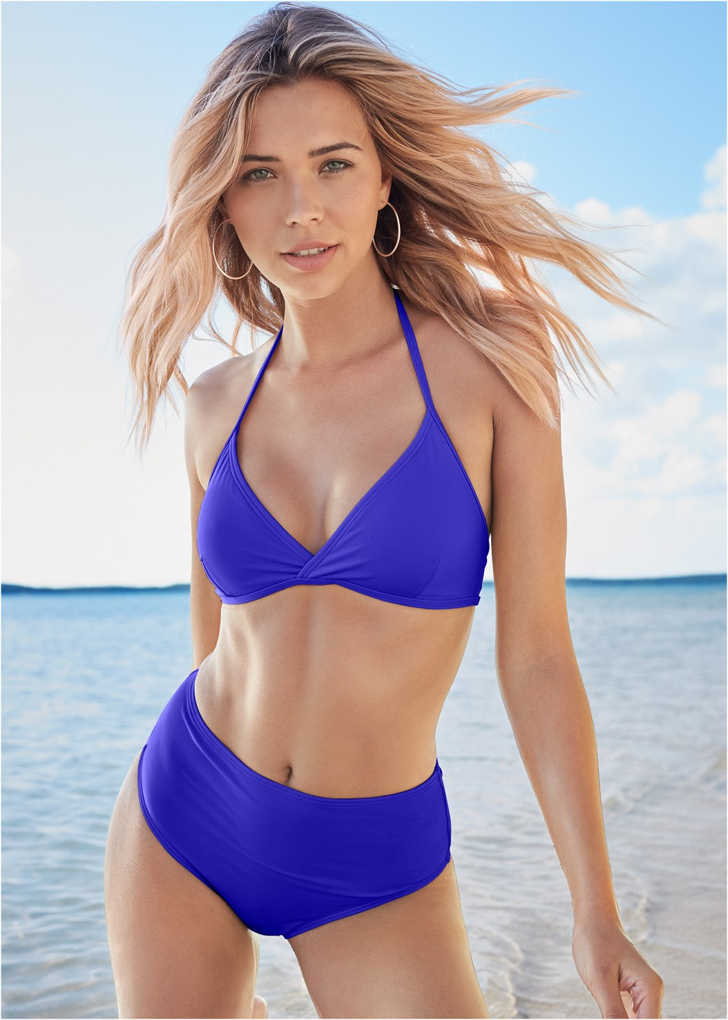 All Day Halter Top,All Day High Rise Bottom,Mid Rise Strappy Bottom,Full Coverage Mid Rise Hipster Bikini Bottom,Side Slit Cover-Up Dress