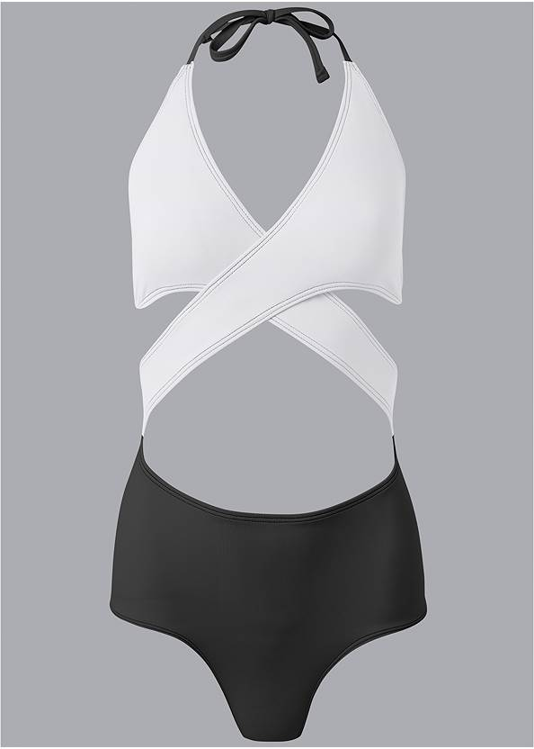 Alternate View Wrap Front One-Piece