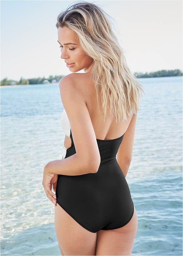 Back View Wrap Front One-Piece