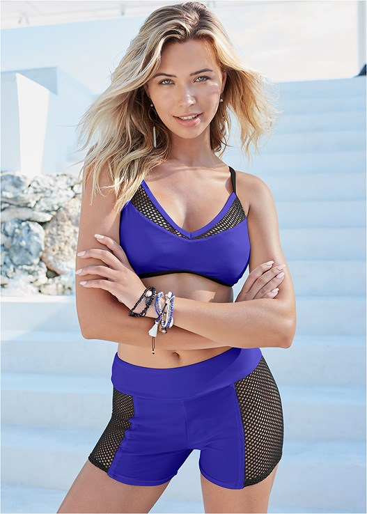 CROSS BACK SPORT TOP,MESH TRIMMED SWIM SHORTS,MIDRISE MESH PANEL BOTTOMS,SWIM SHORT,EMBELLISHED SLIDES