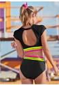 Full back view Neon Banded Rash Guard Top