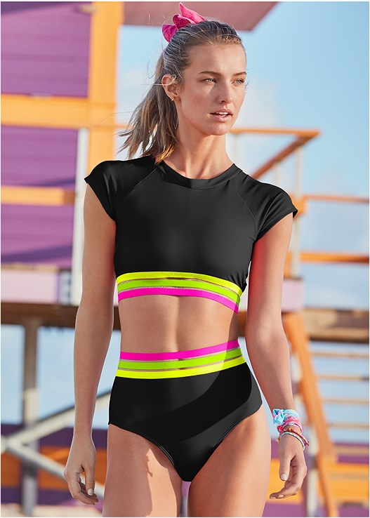 NEON BANDED RASH GUARD TOP,NEON BANDED HIGH WAIST,MID RISE BOTTOM,SWIM SHORT,HOODIE COVER-UP,EMBELLISHED SLIDES