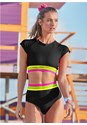Full front view Neon Banded Rash Guard Top