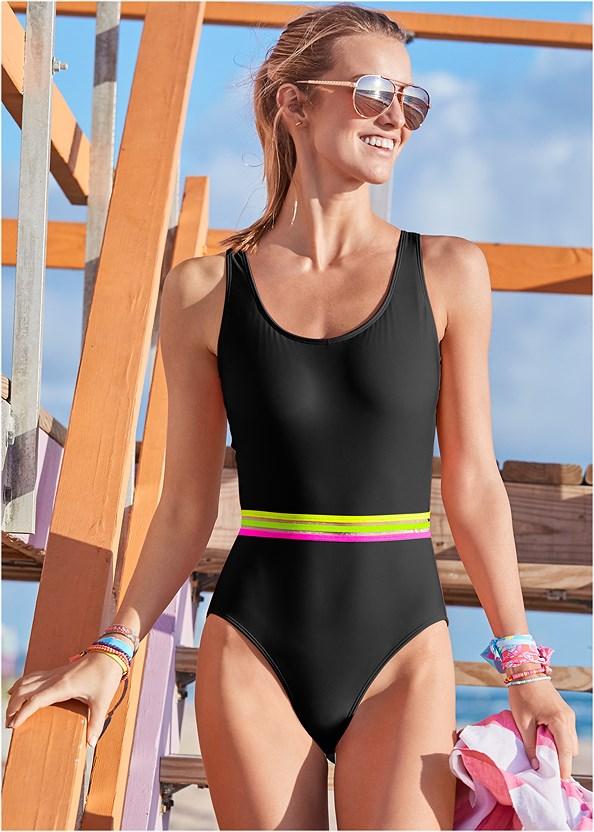 Neon Banded One-Piece,Jersey Fishnet Jumpsuit,Woven Handbag
