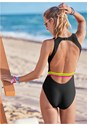 Cropped back view Neon Banded One-Piece