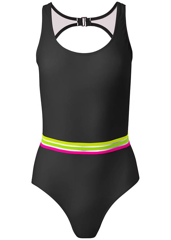 Ghost with background  view Neon Banded One-Piece