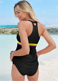 Full back view Neon Banded Tankini Top