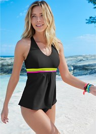 Full front view Neon Banded Tankini Top