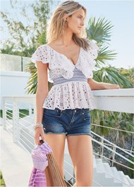 Front View Eyelet Peplum Top