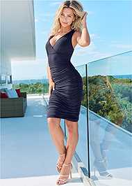Front View Ruched V-Neck Dress