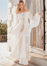 Full front view Off Shoulder Maxi Dress