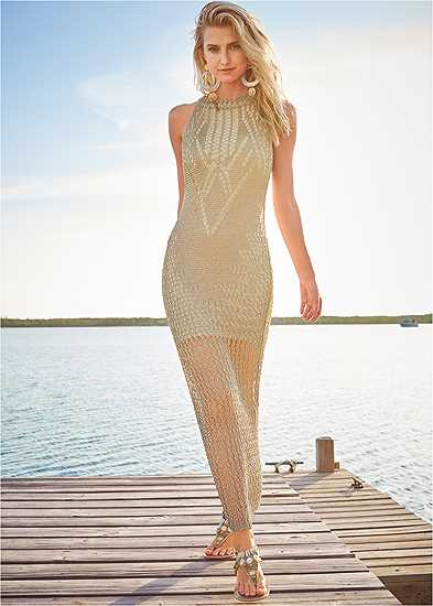 Metallic Crochet Dress