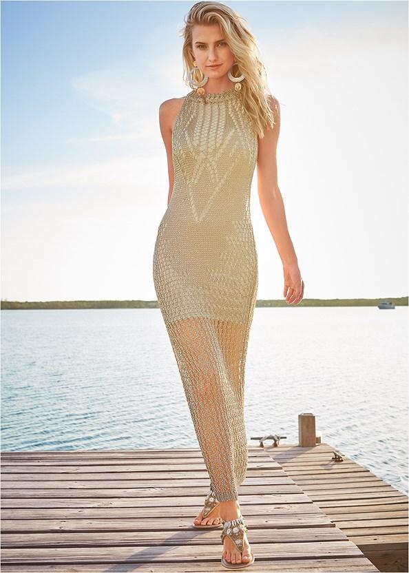 Metallic Crochet Dress,Shell Detail Sandals,Beaded Feather Bracelet,Fringe Drop Earrings,Oversized Tassel Earrings