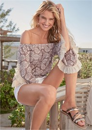 Cropped front view Off The Shoulder Lace Top