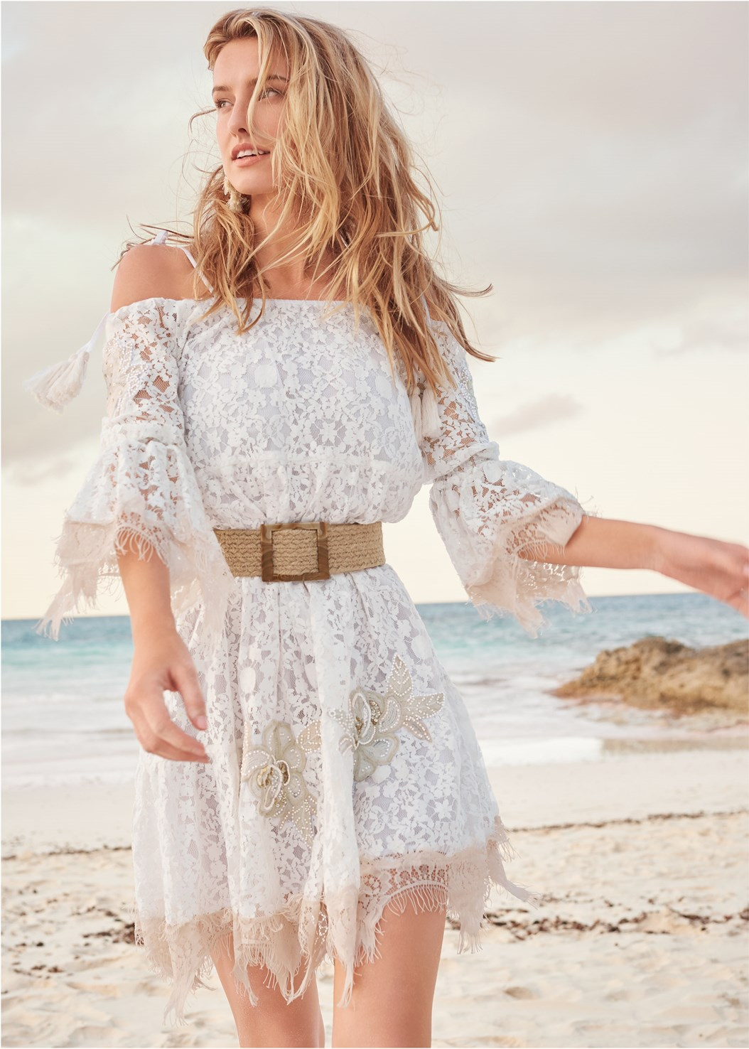 Lace Off The Shoulder Dress,Beaded Heels,Shell Earrings,Shell Detail Clutch,Woven Belt