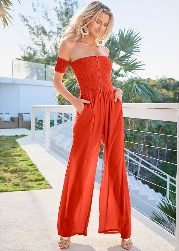 Smocked Jumpsuit,Beaded Heels,Oversized Tassel Earrings