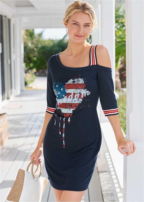 Graphic Lounge Dress,Embellished Slides,Raffia Detail Bag