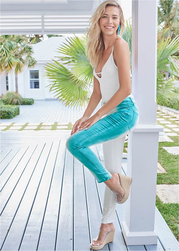 Alternate View Tie Dye Stripe Jeans