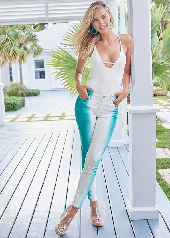 Tie Dye Stripe Jeans,Scoop Neck Bodysuit,Push Up Bra Buy 2 For $40,Platform Block Heels,Beaded Earrings,Lucite Raffia Wedge,Cut Out Detail Jeans