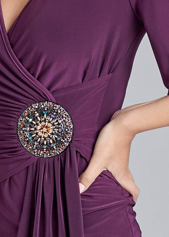 Detail front view Embellished Surplice Top