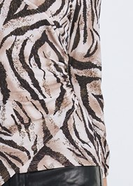 Detail front view Tiger Print Surplice Top