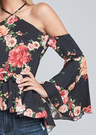 Detail front view Floral Bell Sleeve Top
