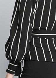 Back View Striped Wrap Top
