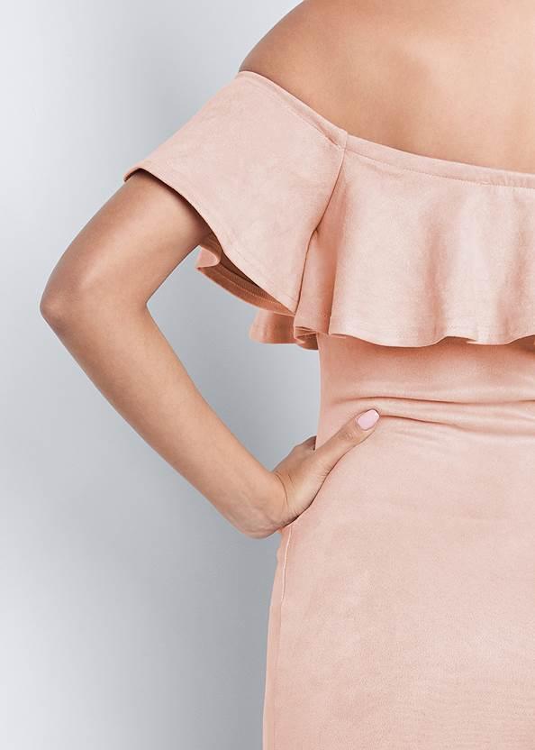 Detail back view Faux Suede Ruffle Dress
