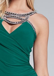 Detail front view Embellished Trim Long Dress