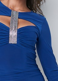 Alternate View Crystal Trim Ruched Dress