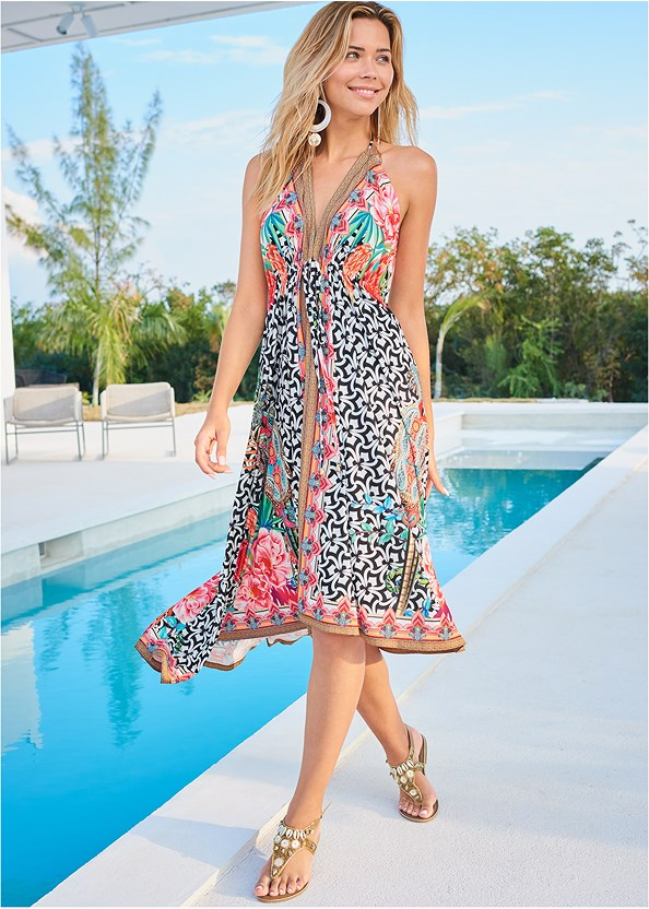 Printed Maxi Dress,Shell Detail Sandals,Oversized Tassel Earrings,Wooden Handbag