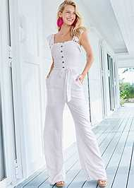 Alternate View Smocked Linen Jumpsuit