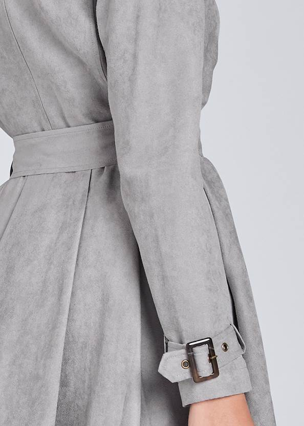 Detail back view Faux Suede Trench Coat