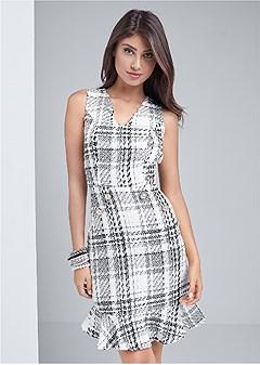 pearl detail tweed dress