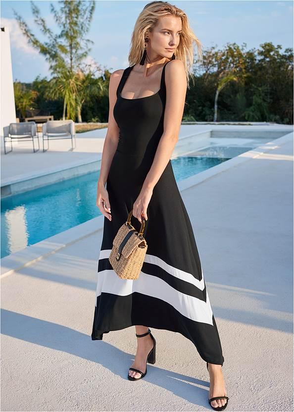 Color Block Maxi Dress,High Heel Strappy Sandals,Beaded Tassel Earrings